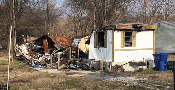 burned mobile home