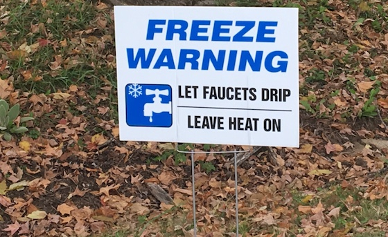 mobile home winterization sign