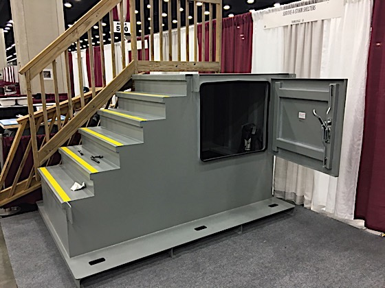 mobile home stair storm shelter