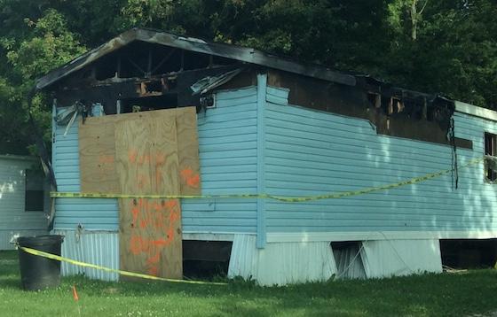 burned mobile home