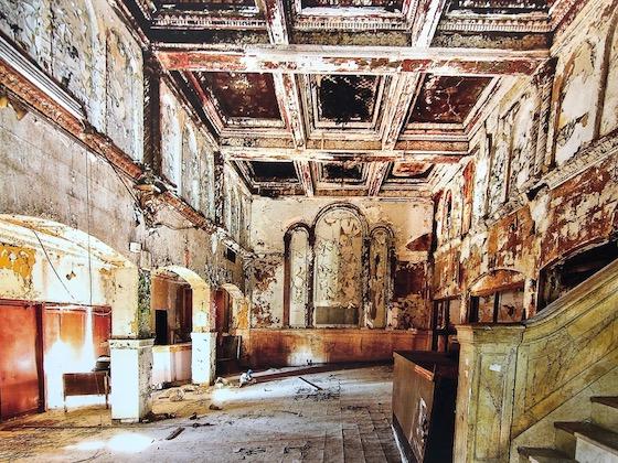 abandoned hotel lobby