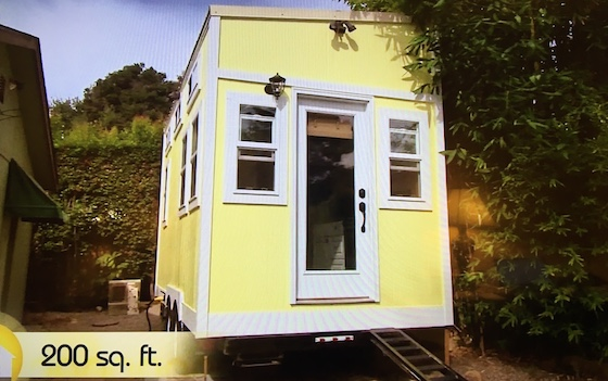 yellow tiny mobile home
