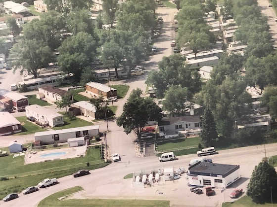aerial of mobile home park in 1970