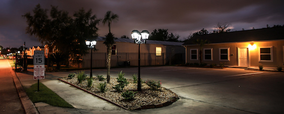 mobile home park solar lights at night