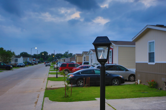 solar mobile home park lights