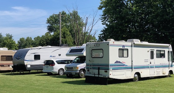 rvs parked in field